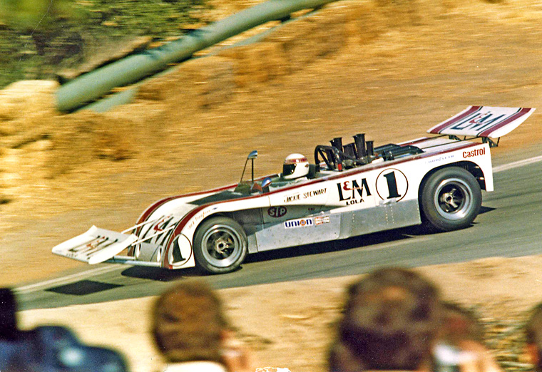 Stewart coming out of the famous Corkscrew, Laguna Seca 1971.