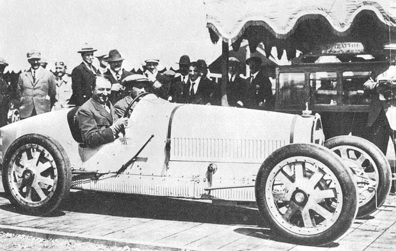 Ettore Bugatti at the wheel of what would become his most successful racing car, the 1924 Type 35.