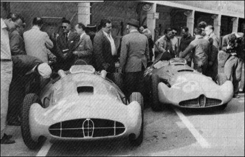 Both 251's in the pits, Reims 1956.