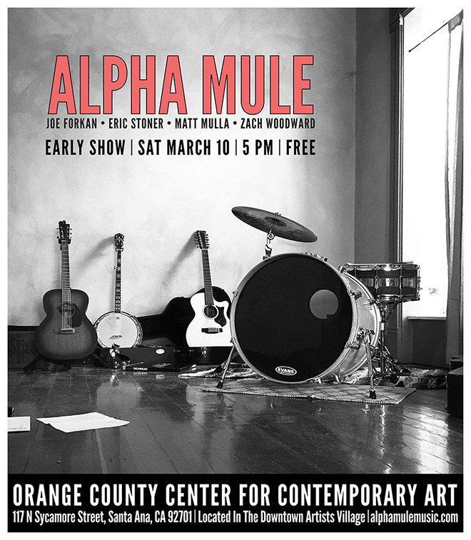 "Alpha Mule is playing the closing reception of the ""Music for your Eyes"" exhibition at Orange County Center for Contemporary Art in Santa Ana, CA, Saturday March 10. Hope you can make it!"