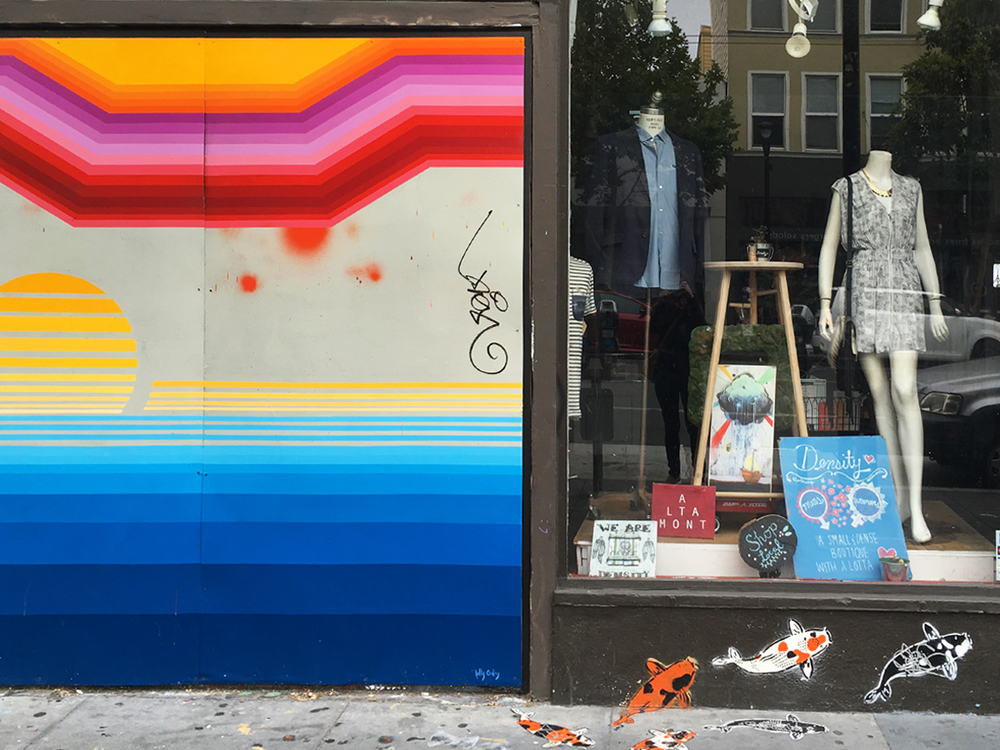 Beautiful street art compliments an adjoining storefront in Mission.