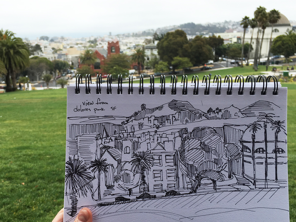 View and my sketchbook from atop of Dolores Park.