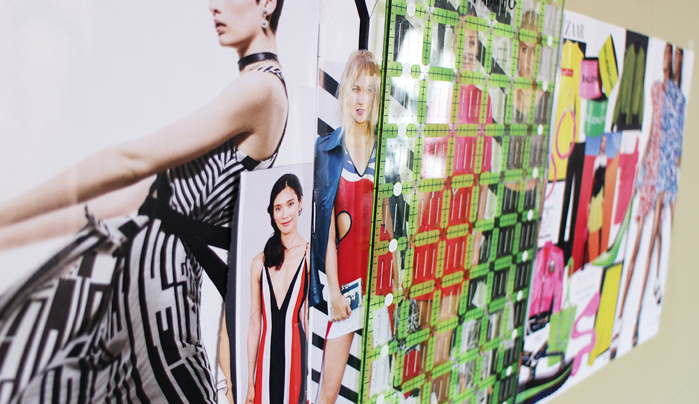 My wall montage of fashionistas with bold and graphic colour!