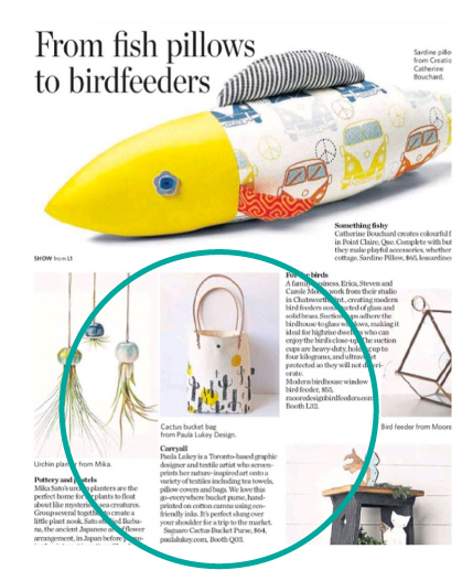 Toronto Star - March 2018 - Featured in the Lifetsyle Section: Cactus and Suns Hand Screen Printed Bucket Purse