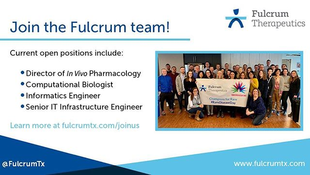 At Fulcrum, we are dedicated to addressing the root cause of genetic diseases. If you'd like to join our mission to deliver breakthrough medicines to people with #rarediseases, check out our open positions on our website (link in bio). #biotechjobs