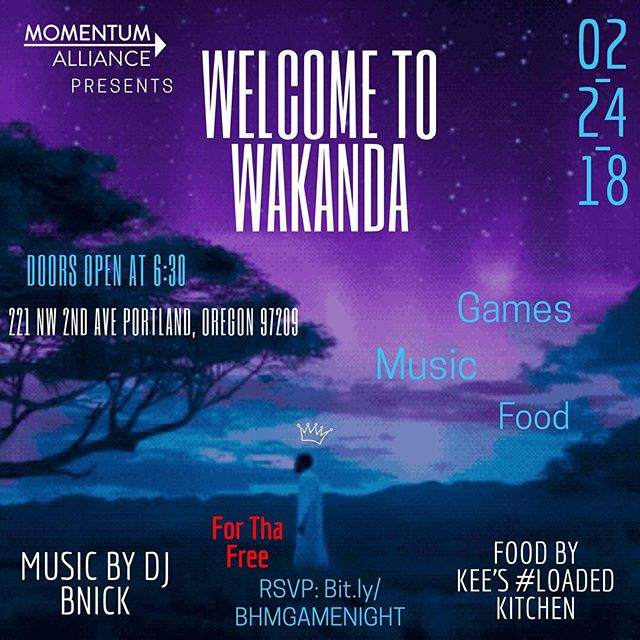 Save the date y'all! February 24th 6:30-9:30PM Momentum Alliance is hosting a game night for Black identified young adults. (14-40) The event will include games provided by MA, food by Kee's #Loaded Kitchen (vegetarian options available!) and sounds of DJ BNick! This event is FREE and you DON'T WANT TO MISS  IT!  RSVP HERE: http://bit.ly/BHMGameNight  Y'all this is finna be lit and chill asf. *We ask that all white and non-Black allies respect this much needed space for the Black community and show your solidarity by allowing this space to be just for us* #BHM #GameNight #BlackHistoryMonth #CommunityEvent #ForUsByUs