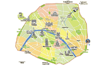 Here is a map of the city to give you an idea. I live right between Parc Monceau and D'Arc de Triomphe.