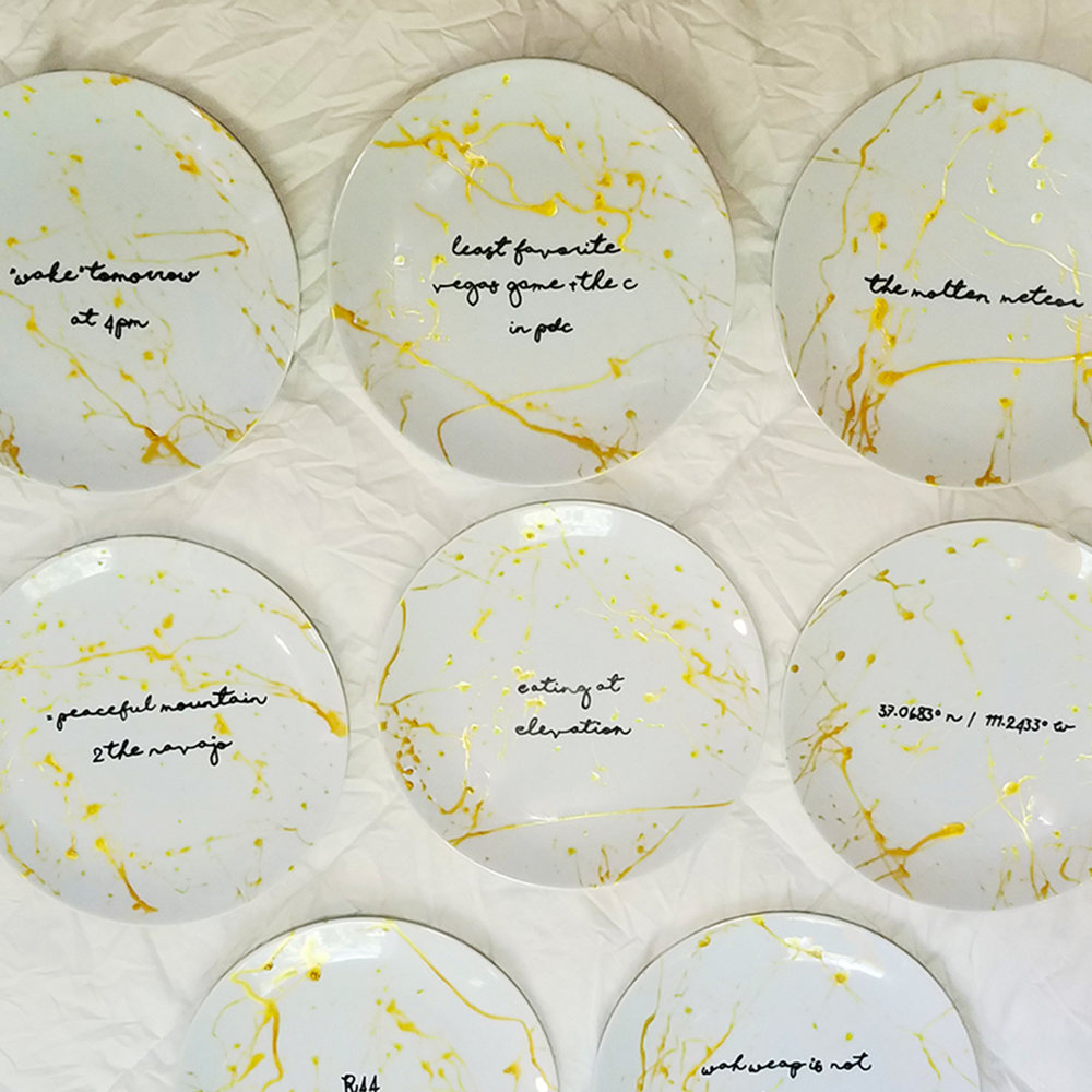 All plates laid out prior to being packed up and shipped to event.