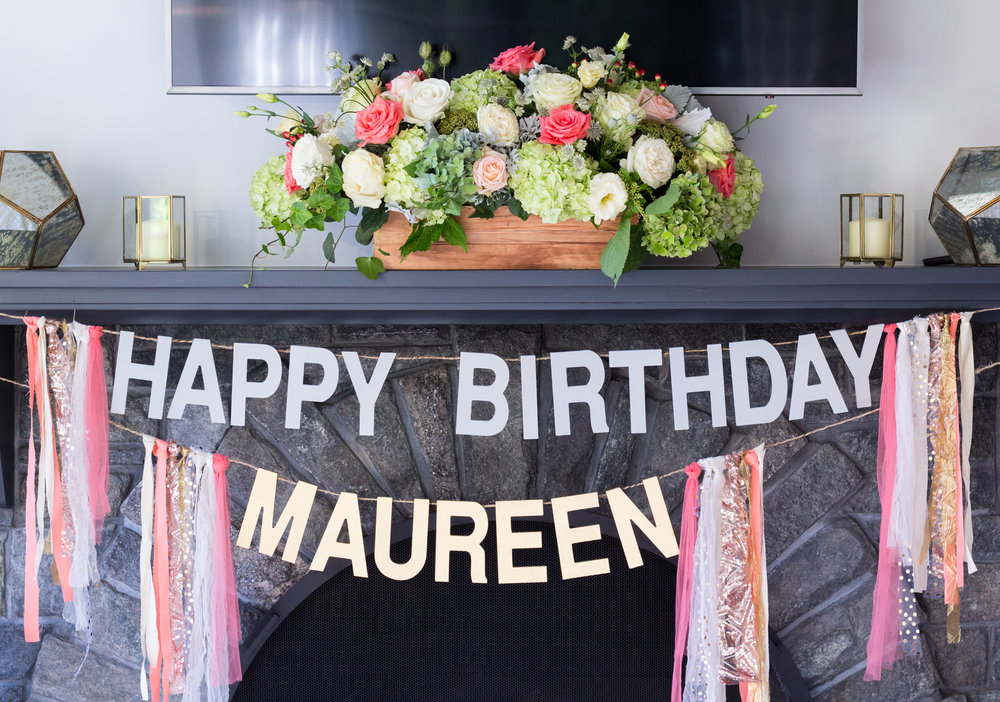 """Custom """"Happy Birthday"""" banner. Chalk gray/gold letters. Fabric from photo booth backdrop used as accents."""