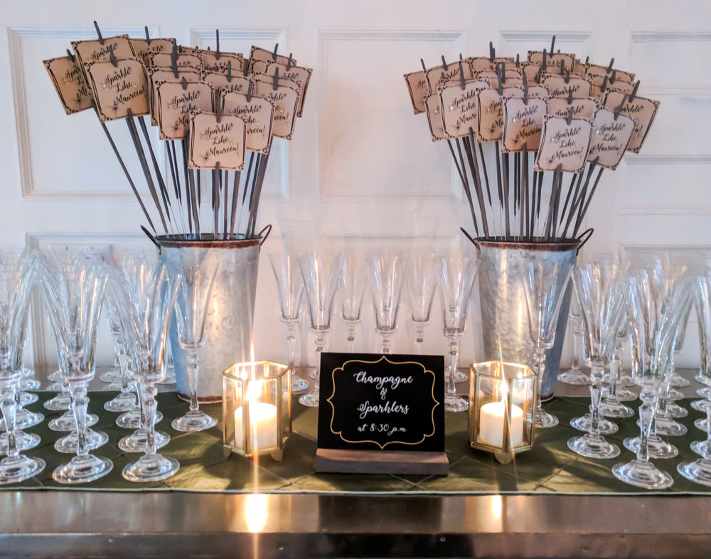 """Sparkler tags and vinyl printed signage for """"Sparklers & Champagne""""."""