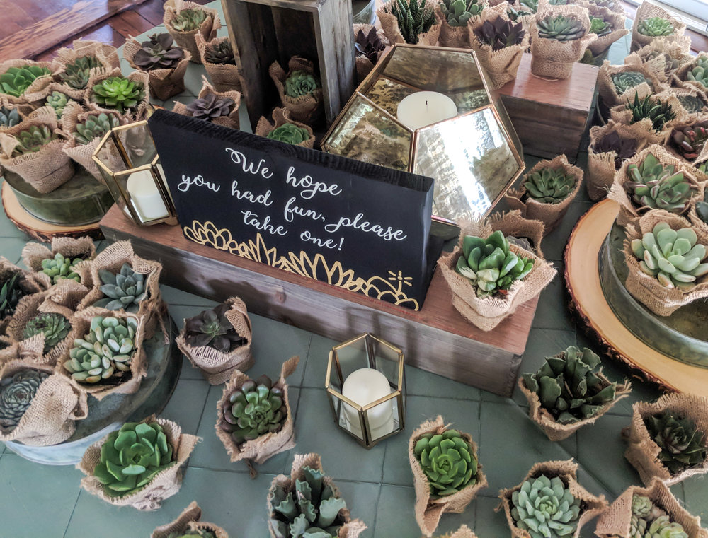 """""""We hope you had fun, please take one!"""" vinyl sign for succulent party favors."""