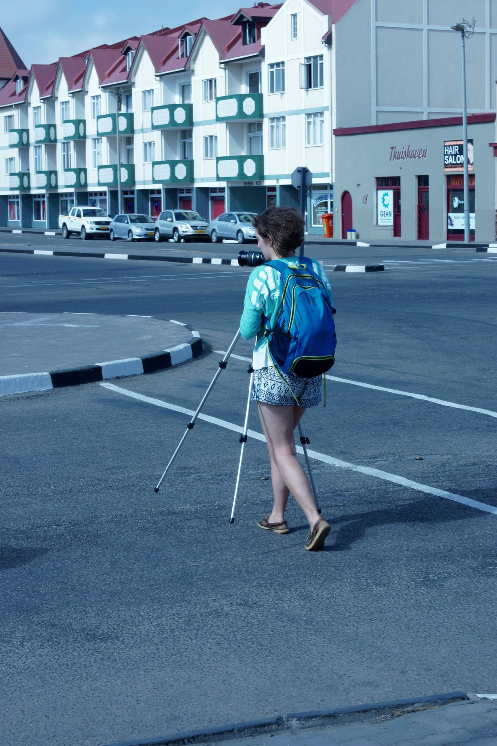Oly filming in the town of Swakopmund.