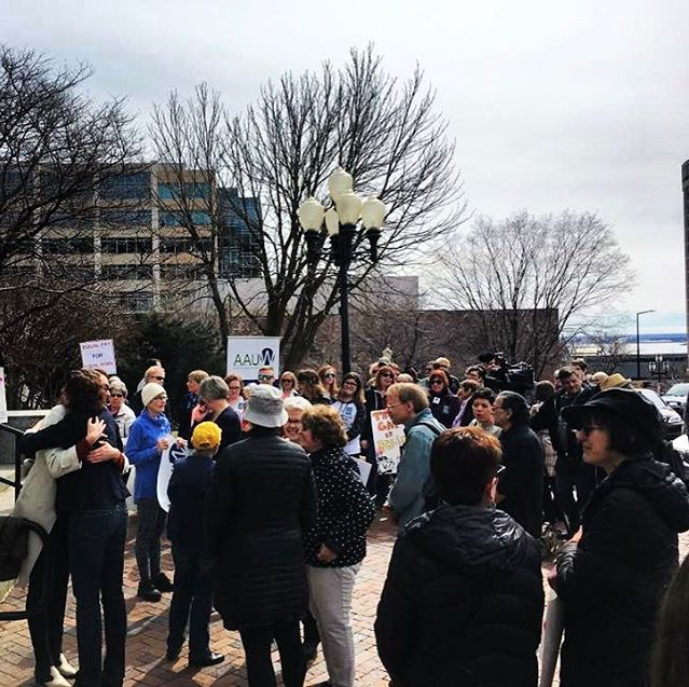 Via Instagram. Bottom left corner is me hugging my idol / fellow feminist (& new FEMN shirt owner), Mayor Emily Larson before the rally at City Hall. Photo cred to County Commissioner Nora Sandstad