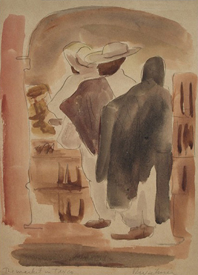 Market in Tosco   ,   1940, Watercolor, 11.5 x 8 in.