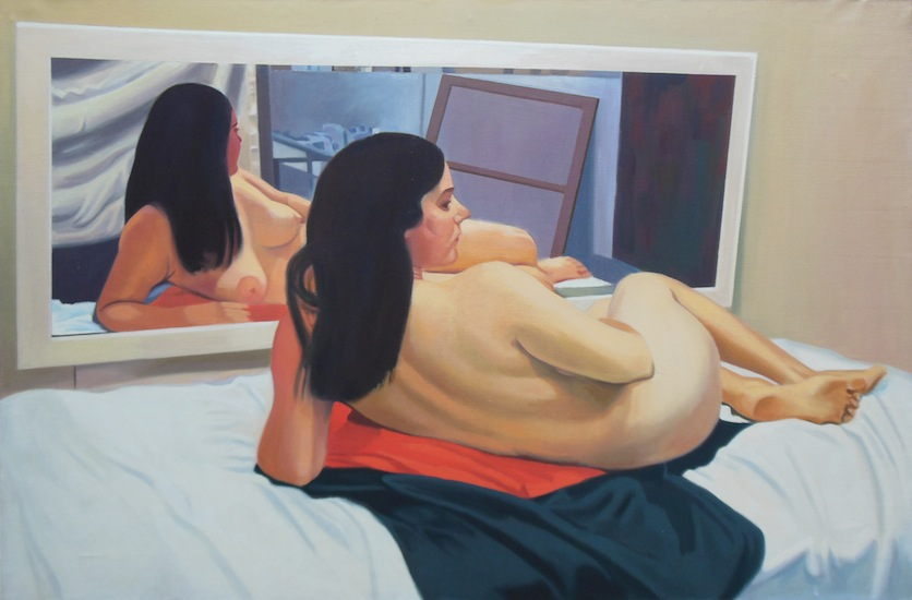 "Orange Cloth ,  circa 1973, Oil on linen, 24"" x 36"""