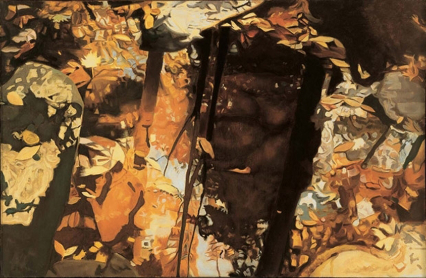"In the Woods,   1987, Oil on linen, 26"" x 40"""