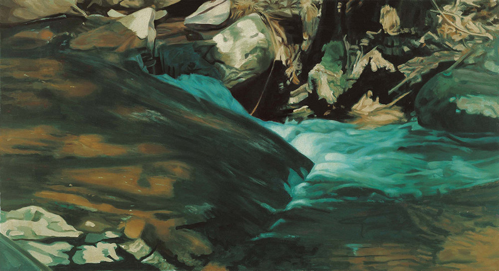 "Green Water Fall  , 1975, Oil on linen, 25"" x 44"""