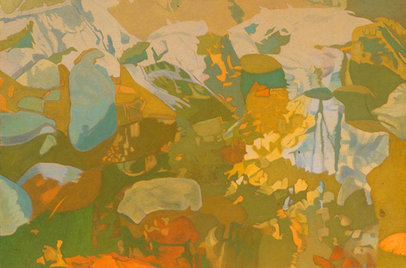 "In Yellow  , 1987, Oil on linen, 47"" x 70"""