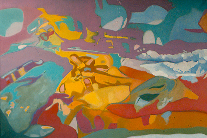 "Wandering Waves  , 1987, Oil on linen, 40"" x 60"""
