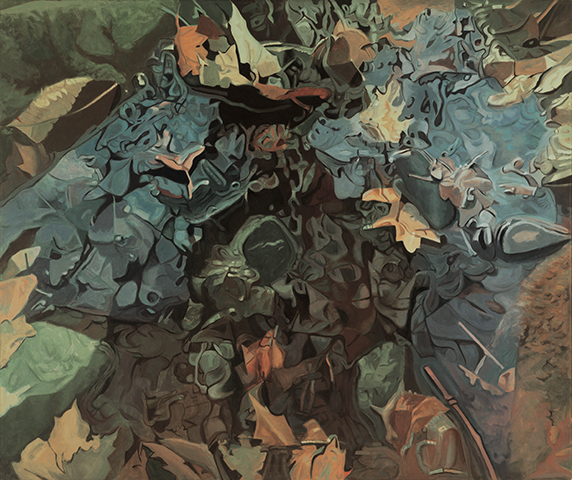 "Rising  , 1985, Oil on linen, 60"" x 72"""