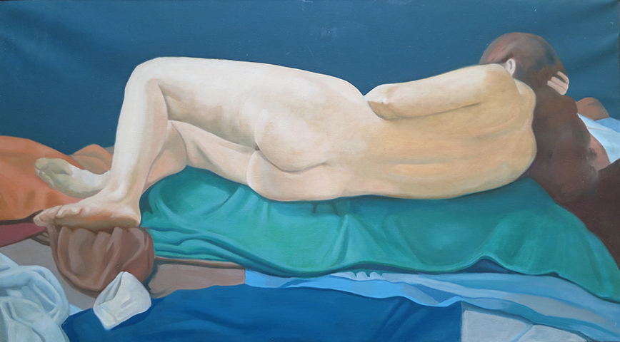 "Reclining Nude  , 1972-75, Oil on canvas, 20"" x 36"""