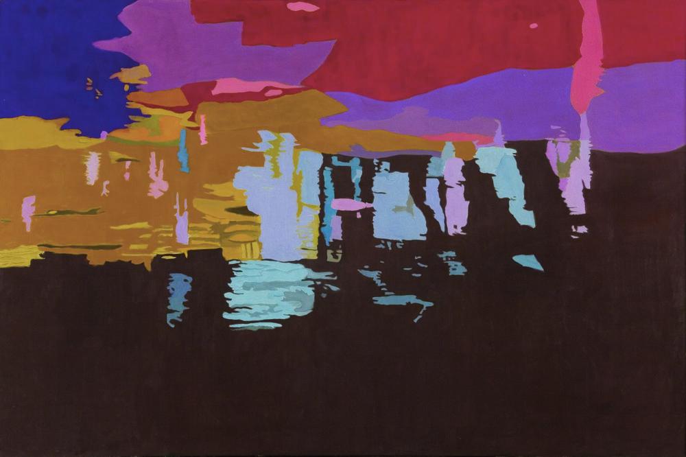 """Dark River Bottom,  40"""" x 60"""" Oil on Linen, 1997"""
