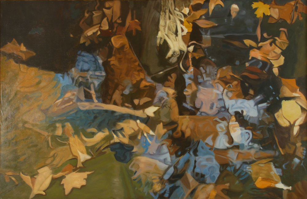"Ralph Wickiser  Fall Debris, 26""x40"", Oil, 1985"