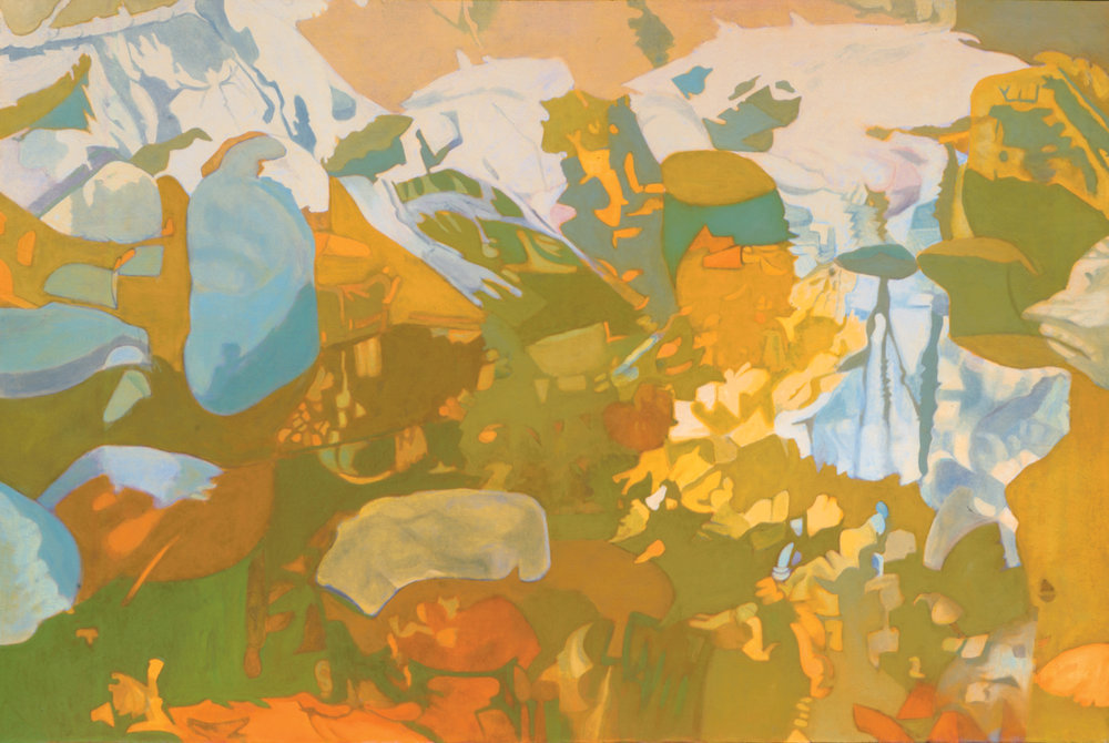 "In Yellow Oil on Linen, 47"" x 70"", 1987"