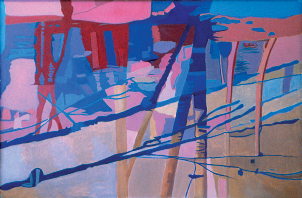 "Sunset on the Stream Oil on Linen, 26"" x 40"", 1994"