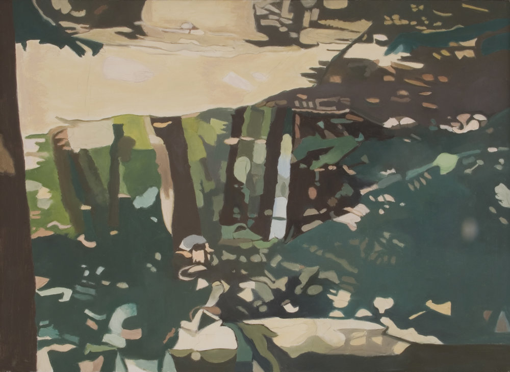 "Green Reflections  Oil on Linen, 26""x34"", 1995"
