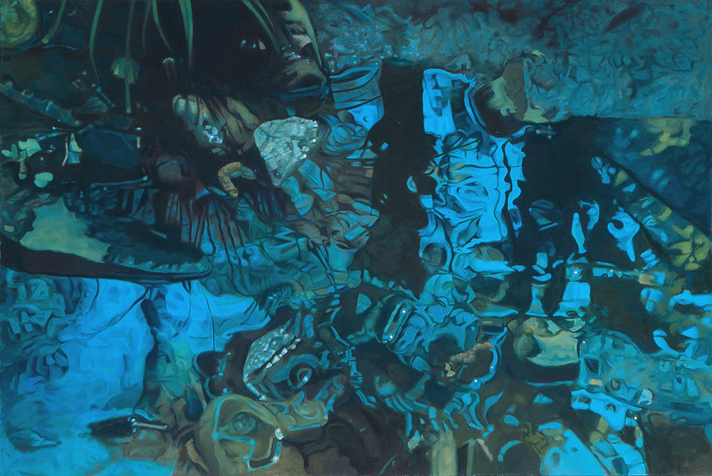 "Pearls and Lace  Oil on Linen, 47""x 70"",1982"