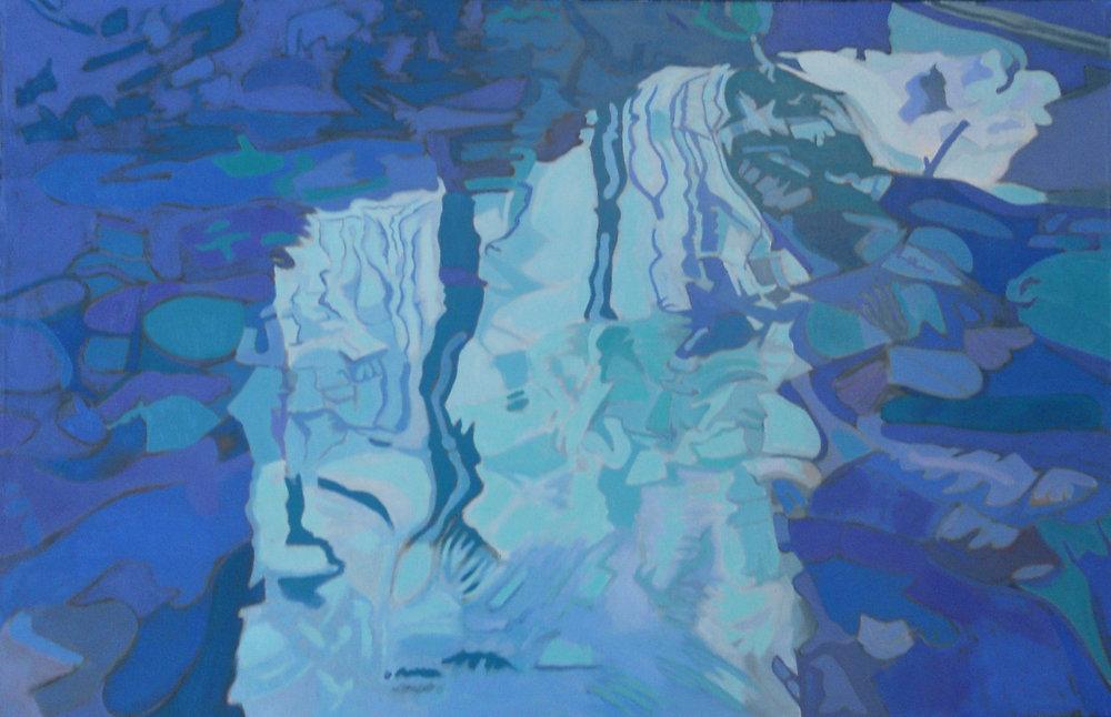 """Blue Stream  40"""" x 60"""", Oil on Linen, 1986"""