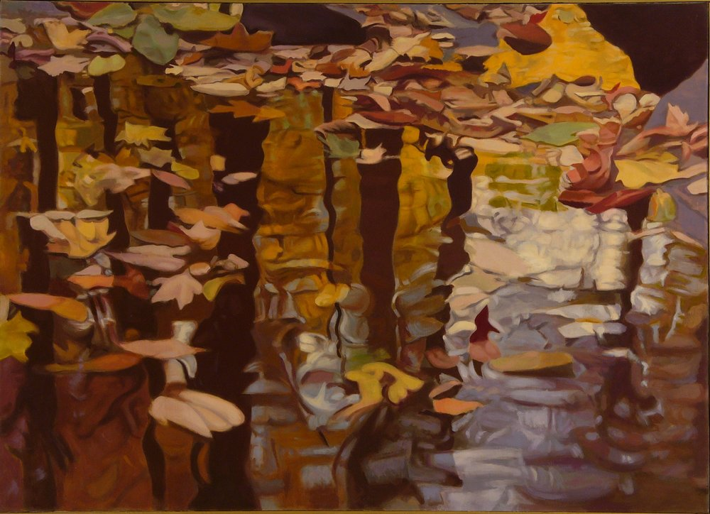 "Leaves on the Water  Oil on Linen, 36""x50"", 1980"