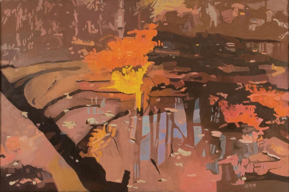 """Shadow II  Oil on Linen, 40"""" x 60"""",1994"""