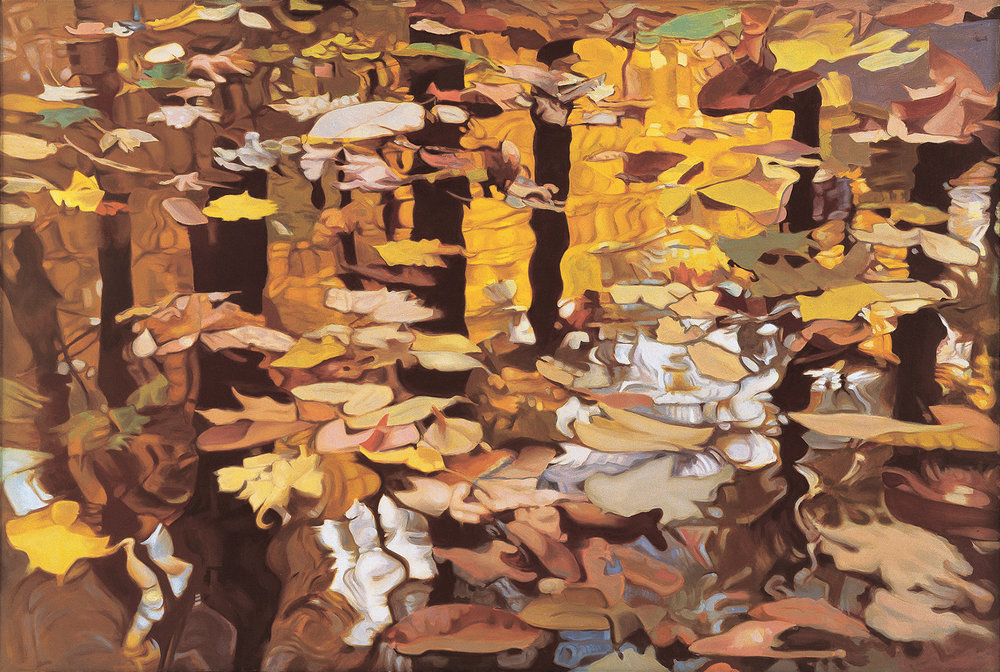 "Fall Reflections , Oil on Linen, 47"" x 70"", 1980"