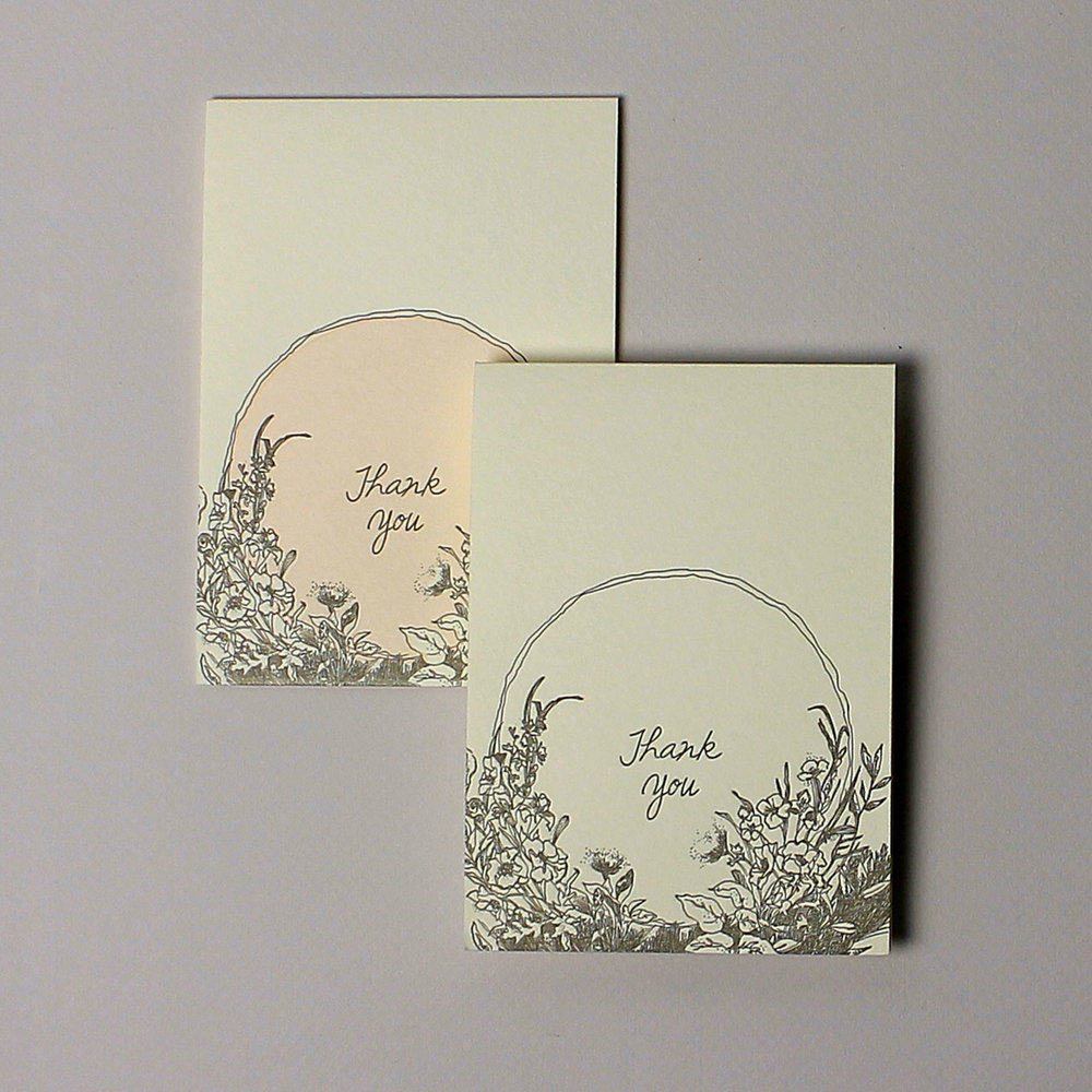 shine thank you card - shown in one and two color variations
