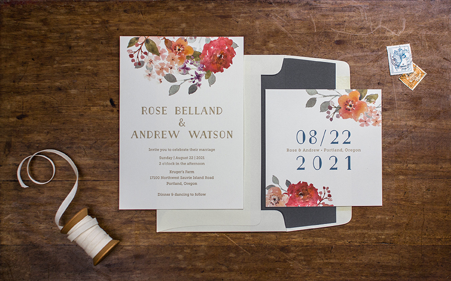 rose suite invitation and save the date