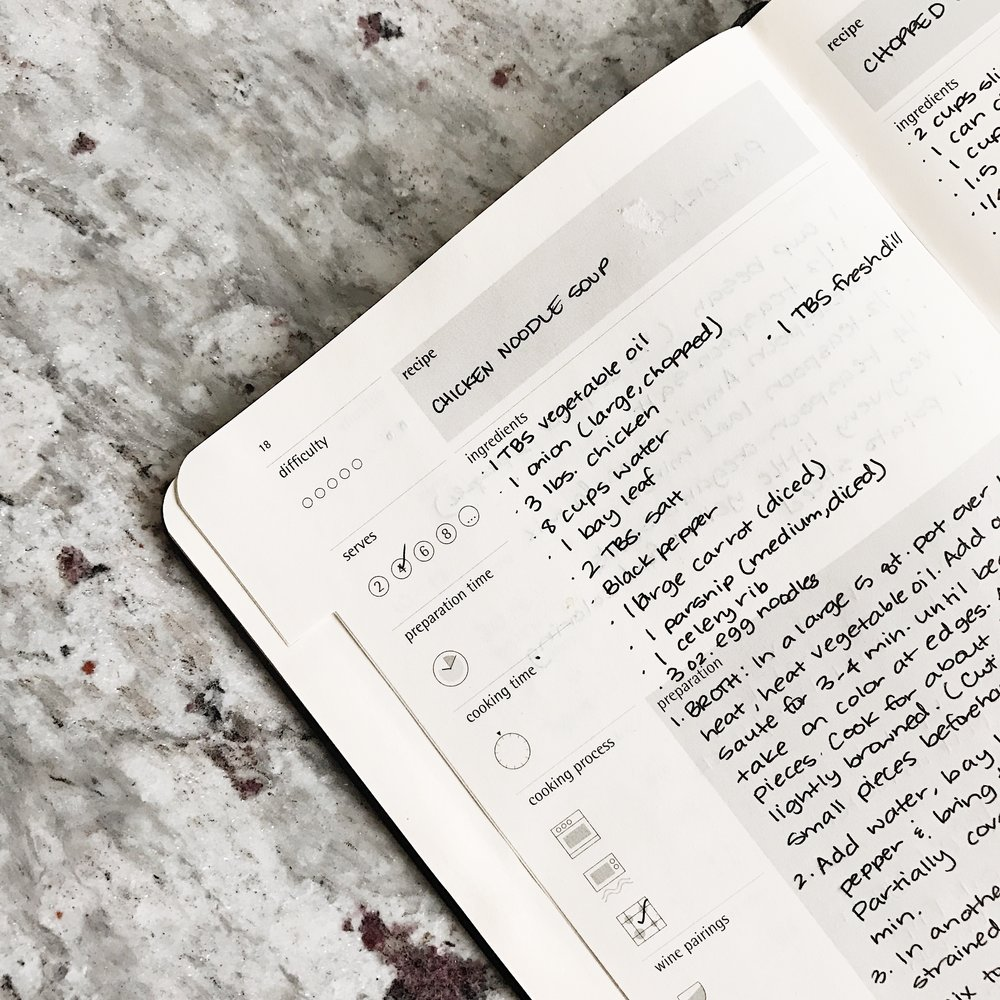 I save most of my favorite recipes on Pinterest and Yummly, but the ones I use repeatedly go in my recipe journal from  Moleskine .