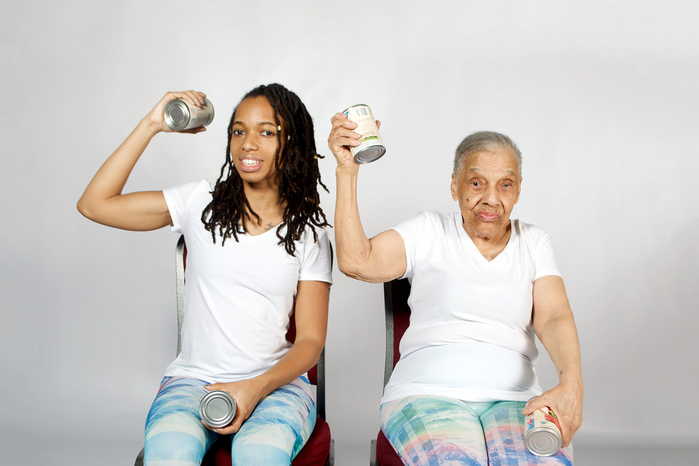 Body Chemist Mica Saunders and her grandmother, doing workouts so easy your grandma can do them. | Wellstruck Lady Boss