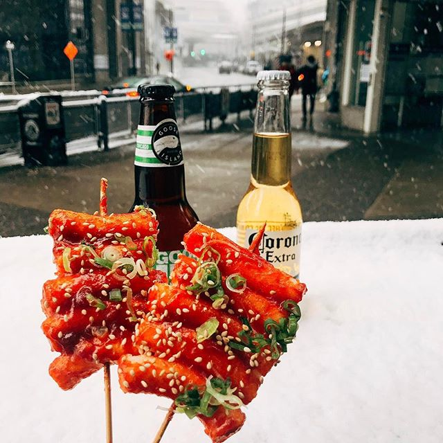 Have Rice cake skewers on snowy days! 🌨