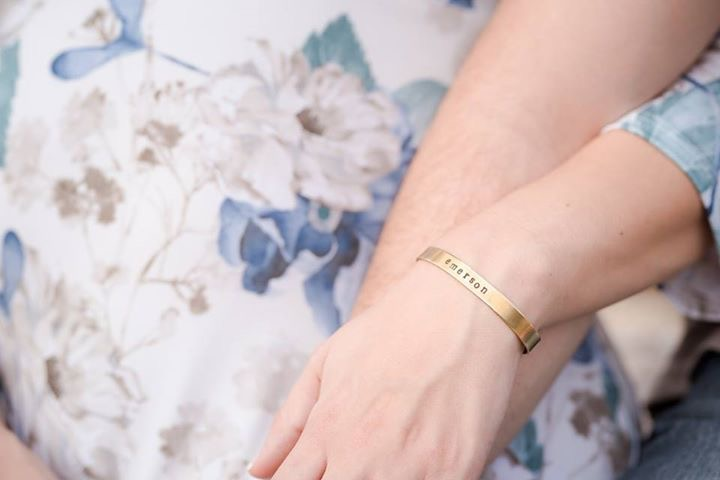 My beautiful, soon-to-be new mama friend, Katie, wearing her bracelet with her baby boy's name. {Photo by Megan Shay Photography}