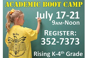 Academic Boot Camp 2017 - Don't let your child suffer from Summer learning loss!  Give them a kick start for the beginning of school by enrolling them in this one week of fun academics, focused on Reading, Writing, and Arithmetic.  This class is FREE to the community for rising K - 4th grade.  Call today to LEARN MORE 434-352-7373 or register at BootCamp.ACA@gmail.com.