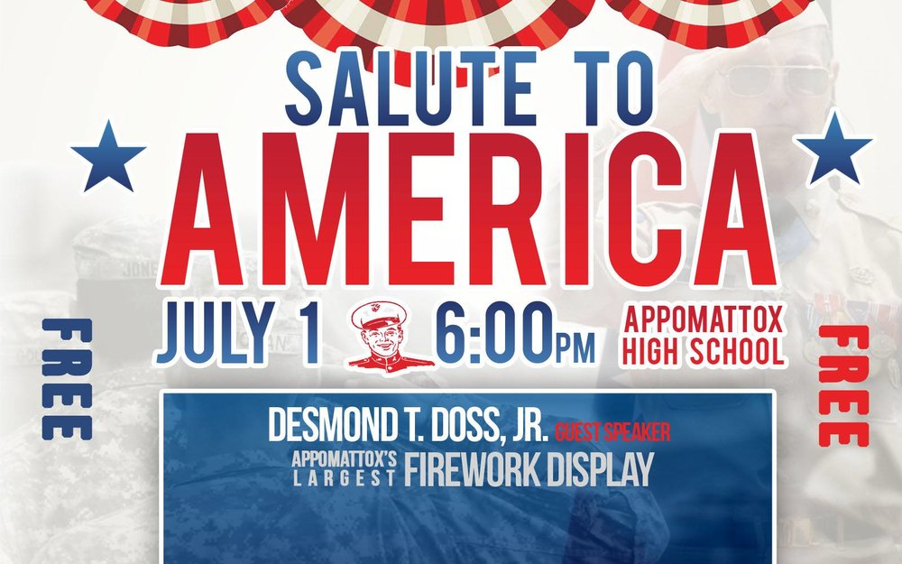Salute to America July 1 - ACA joins forces to host Salute to America on July 1, 2017 at 6:00 pm in the Appomattox County High School Auditorium.  We will begin this salute with a presentation by Desmond T. Doss, Jr as we celebrate the life of his father as a true American Hero!  Followed by FREE Fireworks.  FREE popcorn. FREE Glowsticks while supplies last.  Don't miss this event of patriotism!