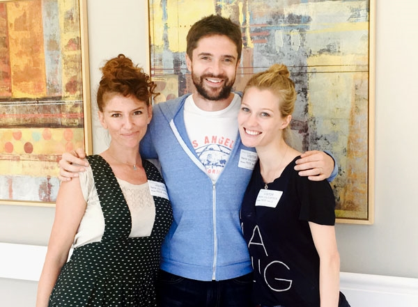 Nikki McCauley, Topher Grace and Ashley Hinshaw sharing lots of laughs with everyone at Kaiser Hospital