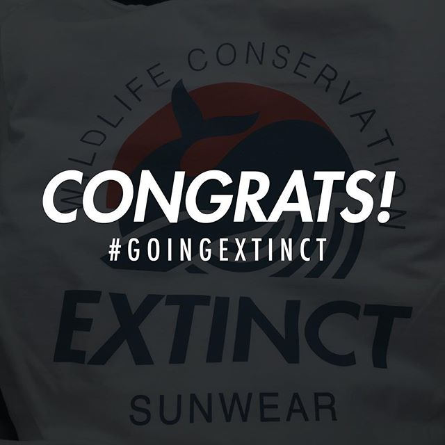 We are so excited to announce the giveaway winner of our very first Extinct tshirt @a.llan.a !  Thank you so much to everyone who entered and has supported us throughout this process!  On Monday, we are officially launching the website and our tshirts and stickers will be for sale! 20% of all proceeds will be donated to a deserving organization - dedicated to wildlife conservation - that we'll be announcing Monday as as well 🐠🍃