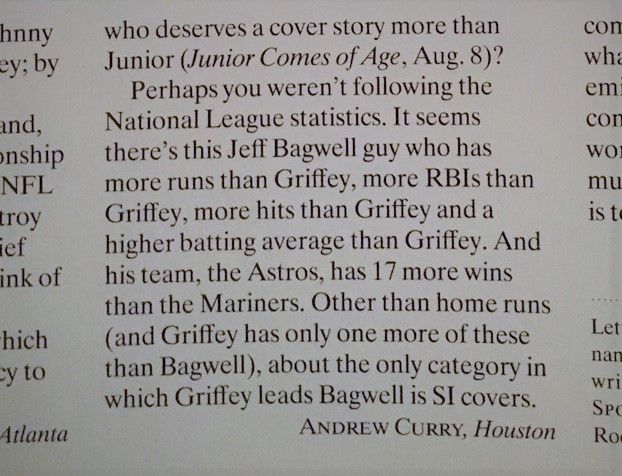 From the author's 1994 letter to  Sports Illustrated .
