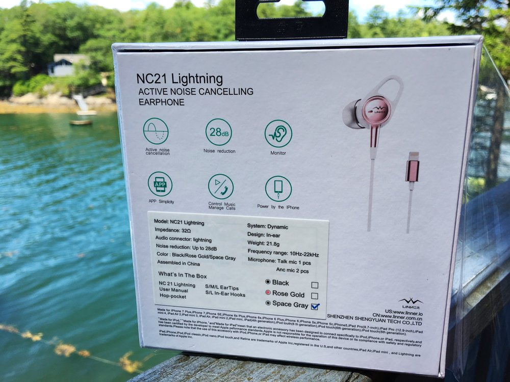 Fig. 2:  Rear view of Linner's NC21 Lightning EarBud product technical specification
