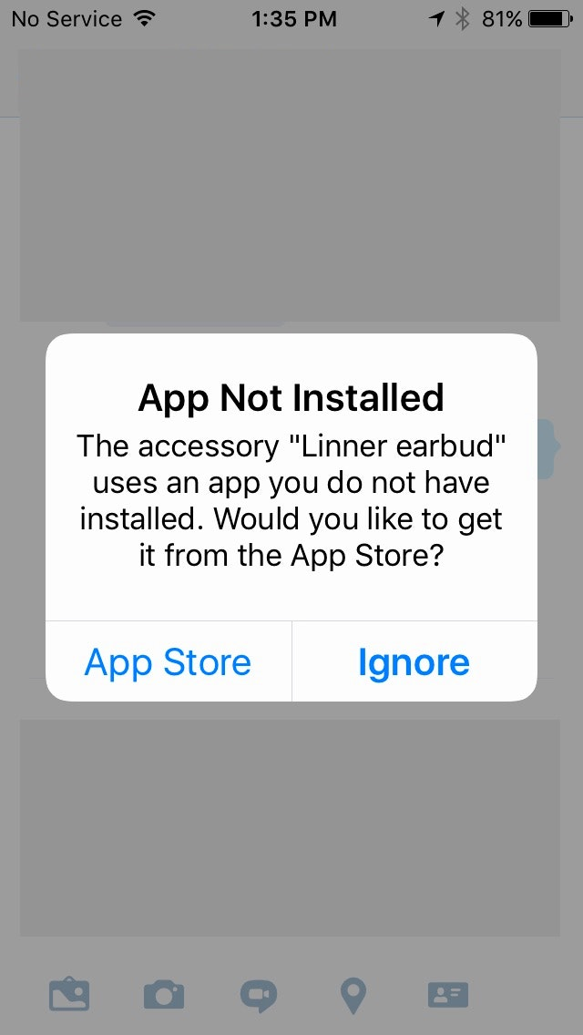 Fig. 6:  Notice to install the Linner App for NC21 Earbuds appearing on iPhone upon insertion of earbuds