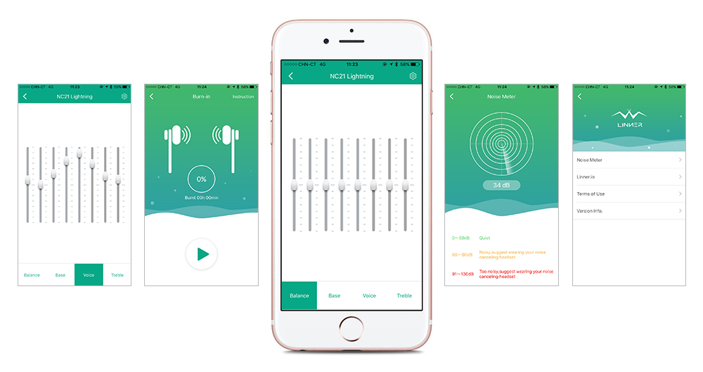 The APP Designs for NC21 Lighting - -Equalizer Settings Set 4 EQ Styles (Balance, Bass, Voice, Treble)-Burn-In New Earbuds-Noise Detection-Software Update