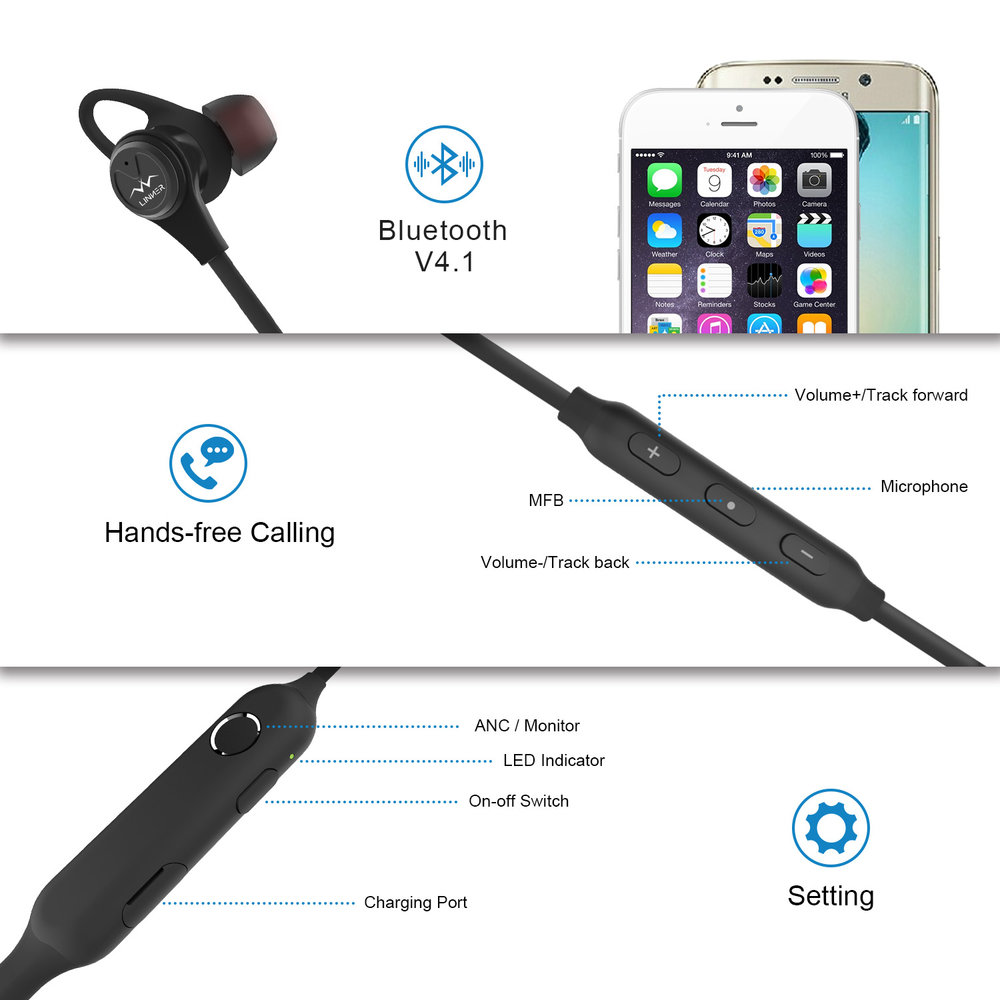 - -Wireless Earphone: Bluetooth V4.1 provides a stable pairing with 2 simultaneous devices, offers you impressive sound even 10 meters away. NOTE: Not Wind Noise Cancelling, we suggest turning off the ANC function while running/riding.